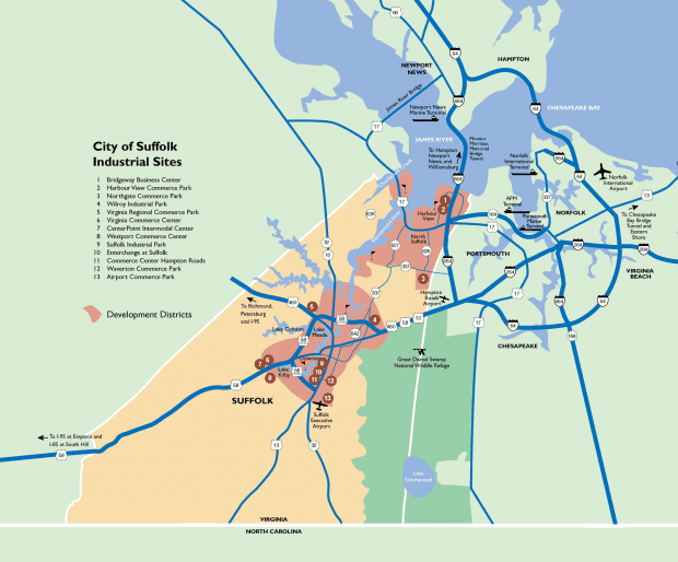 City of Suffolk Industrial Sites Map